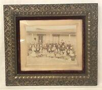 "Antique Victorian Silver Gilt Picture Frame Velvet Mat Glass 17x14"" window"