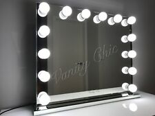 Frameless Mirrored Edges Hollywood Makeup Mirror With LED Lights, Make Up Vanity