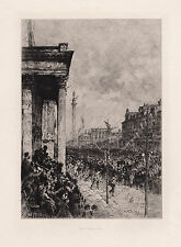 "LOCKHART 1800s Etching ""Queen's entry into Edinburgh 1876"" SIGNED Framed COA"