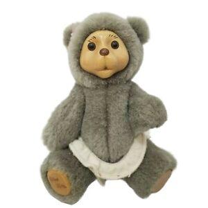 Robert Raikes Plush Jointed Bear Nursery Baby Vintage Allison Doll Grey 90s Wood