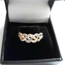 Ladies 9ct Gold Ring with  Diamonds size k