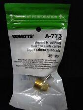 "Watts A-773 3/8"" Male NPT Square Head Pipe Plug MPT MIP Brass Fitting"