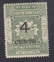 North Borneo 1899 - 4c on $2 Green - SG122 - Mint Hinged (A1E)