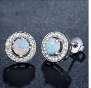 WHITE FIRE OPAL CRYSTAL ROUND STUD EARRINGS. SILVER PLATED