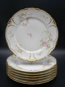 7 HAVILAND LIMOGES DINNER PLATES PINK ROSES, GREEN SCROLLS, DBL GOLD SCH 144F