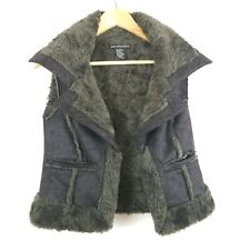 Saks Fifth Avenue Womens Sleeveless Faux Fur Faux Suede Brown Vest One Size