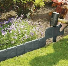 Garden Edging Border - Cobble Stone Effect Lawn Path Edging Fence 10 Pack