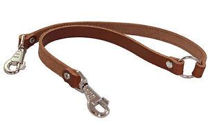 "Genuine Leather 2 Way Dog Coupler Walk Leash 16""x7/8"""