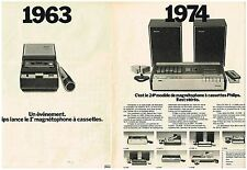 PUBLICITE ADVERTISING 1974 PHILIPS  magnétophone  (2 pag)                 130713