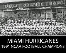 MIAMI HURRICANES - 1991 National Football Champions - 8x10 B&W Team Photo