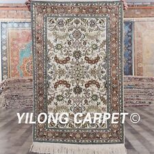 Yilong 2.5'x4' Small Floral Hand Knotted Silk Carpets Modern Handmade Rugs 846B