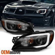 Fit 2006-2007 Subaru Impreza Wrx Outback Black Smoke Led Drl Projector Headlight (Fits: Subaru)