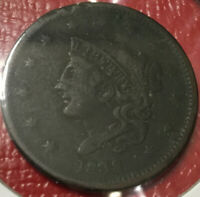 1838 Coronet Head Large Cent, Very Fine Detail, Scarce, Better Date, RARE