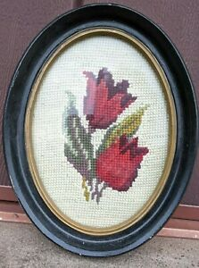 "Original vintage red tulip crewel work picture in wood frame, 7"" x 8 3/4"""