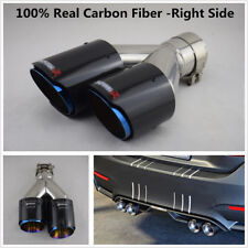 100% Real Carbon Fiber Car Dual Exhaust Pipe Tail Muffler Tip Chrome Blue -Right