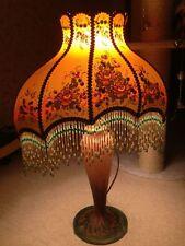ancienne lampe abat-jour EMPIRE  toile Peinte signée