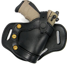 CEBECI Black Leather RH Small of Back SOB Thumb Break OWB Holster - RUGER SR22