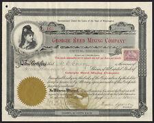 EE. UU.: Georgie Reed empresa minera, Washington, 10 céntimos acciones, Spokane 1900, EF