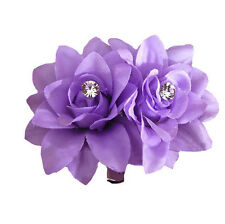 Fashion Flower Crystal Hair Pin Clip Pin Hairband Bridal Wedding Party Purple