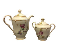 Cafetière et sucrier LOUIS LOURIOUX 1874-1930 porcelaine vintage du Berry-floral