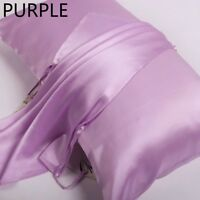 100% Pure Mulberry Silk Pillow Towel Cover Natural Organic Satin 25 Momme Purple