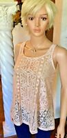 Bobeau New LARGE Pale Pink Sheer Summer Tank Top Lace Cami $59 NWT
