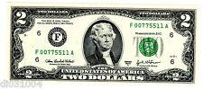 Stati UNITI AMERIQUE USA Banconota 2 Dollari 2003 UNA FANTASIA NUMERO F ATLANTA
