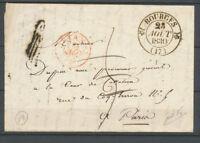 """1830 Lettre Taxée de Bourges """"à détaxer"""" cachet rouge Lys hotel des postes X3709"""