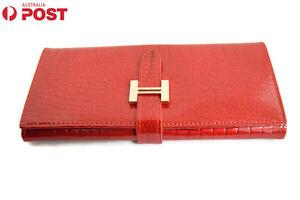 Ladies Clutch Wallet Evening Purse Glossy Leather Handbag Strap Around Bag HQ