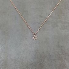 Star of David Rose Gold Necklace in Gift Box Shield Jewish Zionist Jew Hexagram