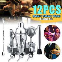 12pcs Cocktail Maker Set Shaker Glass Twisted Bar Spoon Strainer Wood Muddler