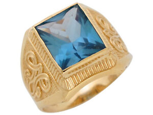 10k or 14k Yellow Gold Simulated Blue Zircon December Birthstone Mens Wide Ring