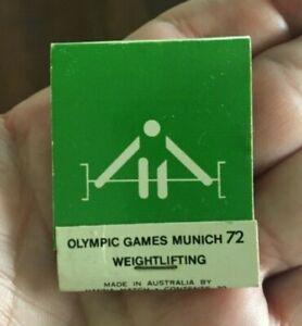 OLYMPIC GAMES MUNICH 1972 WEIGHTLIFTING ADVERTISING MATCHBOX AUSTRALIA SYDNEY 88
