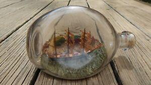 VINTAGE MARITIME SHIP IN A BOTTLE W TOWN IN BACKGROUND/NO CORK/CAP INTERNTL SALE