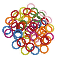 50pcs Wood Craft Supplies Colorful Wood Loop Key Rings for DIY Crafts 33mm
