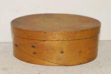 Shaker-type small box, 19th century,iron tacks, old varnish, cracks in lid
