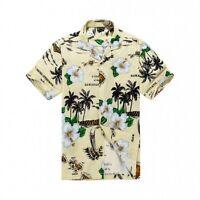 Men Tropical Hawaiian Aloha Shirt Cruise Luau Beach Party Cream Map Leaf Flower
