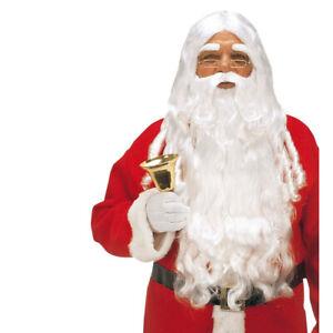 LUXUS WEIHNACHTSMANN SET Nikolaus Perücke mit Bart Weihnachtsmannbart Kostüm
