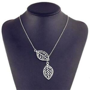 Silver Coloured Two Leaf  Necklace Pendant  Double Leaves New
