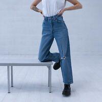 Levi's Ribcage Gerades Bein Blau Damen Vintage Jeans DE 36 / W28 L29