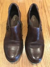 CLARK'S Mules Clogs LEATHER Platforms Pumps High Heels Womens Shoes Sz 8.5 N #