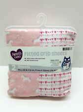 Parent's Choice 100% Cotton Fitted Crib Sheets Pink Print 2pk