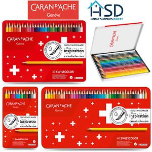 Caran d'Ache Swisscolor Water Soluble Colour Pencils Tin Sets of 12/18/30/40 NEW