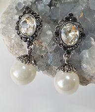 Perlen Ohrhänger Ohrringe Vintage Strass Ornament creme klar schwarz antiksilber