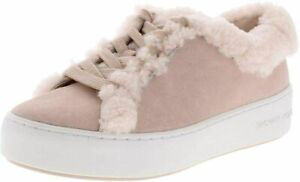 Michael Kors Poppy Lace Up Sneakers Shoes Powder Pink Fur Shearling Trim size 10