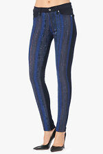 7 FOR ALL MANKIND MALHIA KENT BLUE METALLIC STRIPE SKINNY JEANS 25  26x30  $395