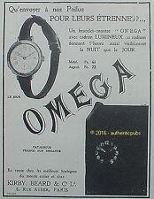 PUBLICITE OMEGA BRACELET MONTRE LES POILUS CADRAN LUMINEUX DE 1913 FRENCH AD PUB