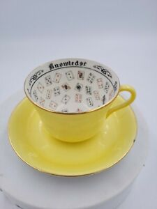 """Antique Jackson & Gosling CUP OF KNOWLEDGE w/Saucer 1920's Fortune Teller 6x6x3"""""""