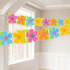 8FT hawaïen Hibiscus Guirlande papier bannière Banderole TROPICAL fleur déco BN