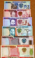 SET Mozambique 500 to 100,000, 6 Notes 1991-1993 134-135-136-137-138-139 UNC